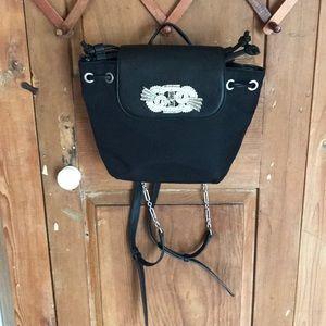 Zara woman black rhinestone backpack